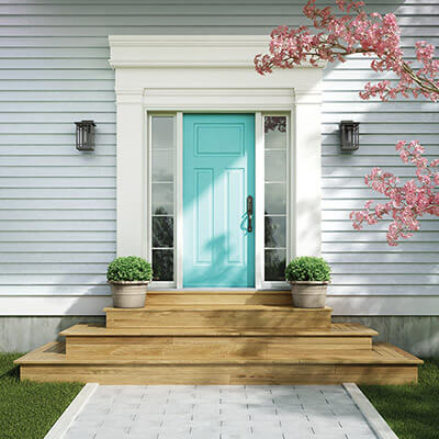 Teal residential door with double sidelites