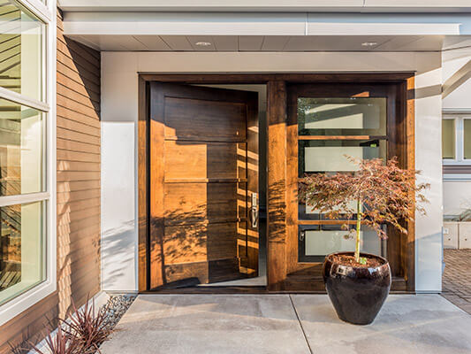 Large, double-wide wooden door on a modern home
