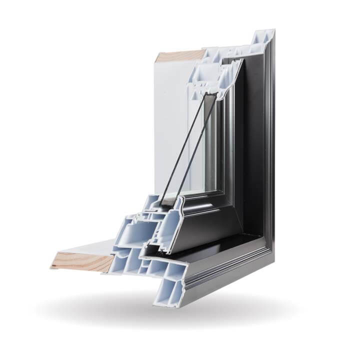 Hybrid PVC / Aluminum Awning Windows in Black