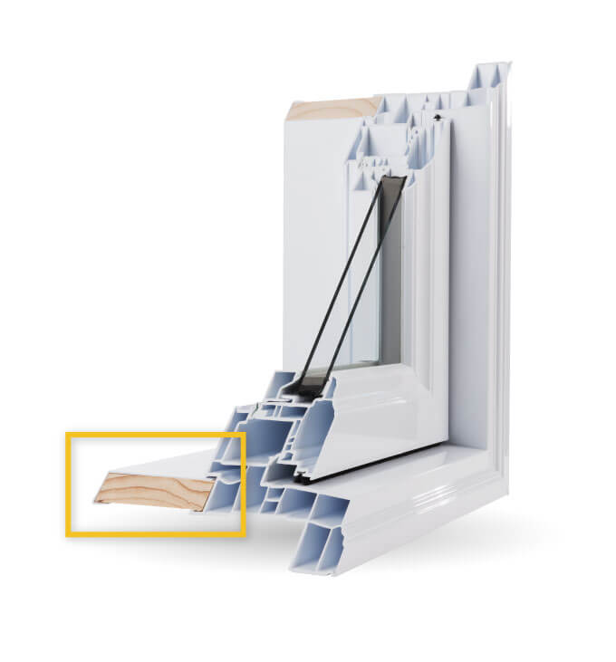 Awning Windows - Interior Wood Extension cladded with PVC