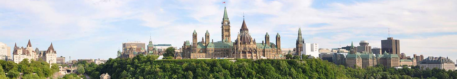 A view of the parliament buildings in Ottawa, Ontario, Canada.