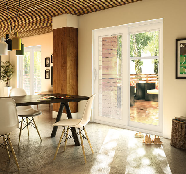 Interior view of modern, PVC patio doors from a beautiful kitchen