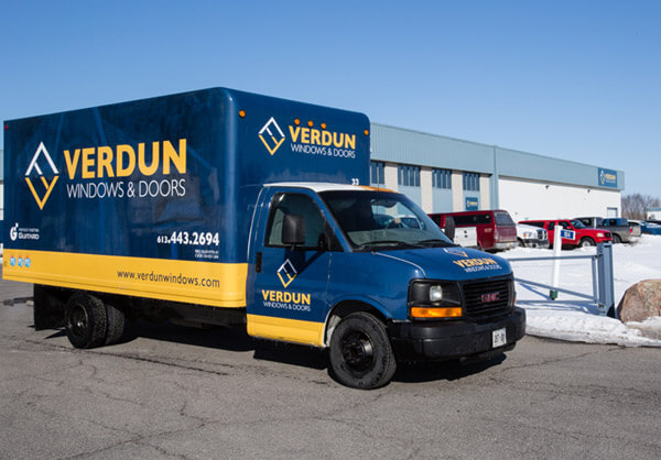 Verdun installation truck outside of manufactuing plant in Vars, Ontario