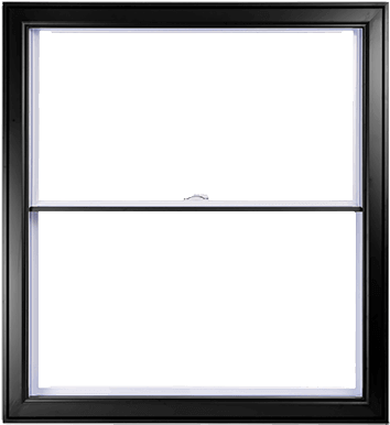 A Black Hybrid PVC / Aluminum Double Hung Window by Verdun