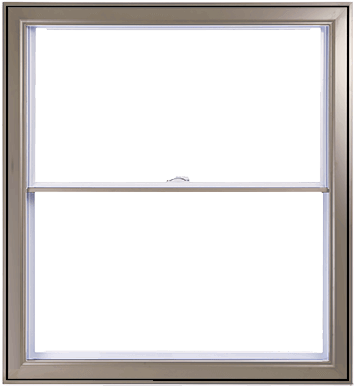 A Khaki Hybrid PVC / Aluminum Double Hung Window by Verdun