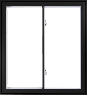A Black Hybrid PVC / Aluminum Double Slider Window by Verdun