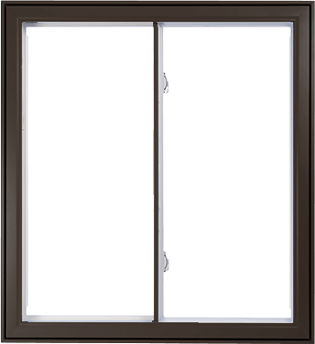 A Brown Hybrid PVC / Aluminum Double Slider Window by Verdun
